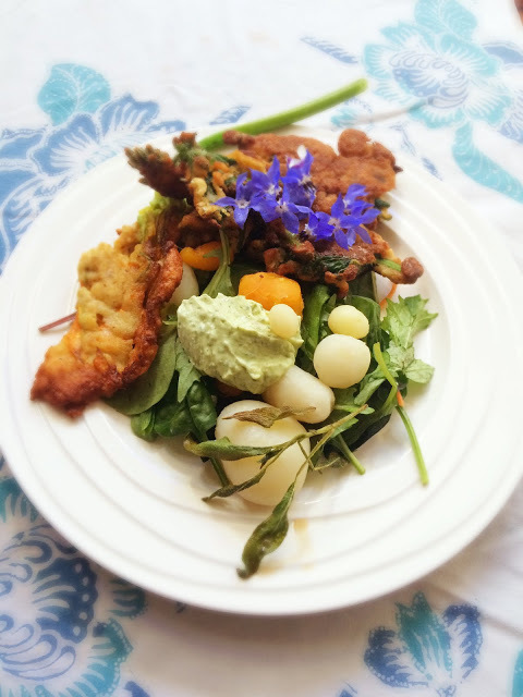 A vegetarian meal from the garden and beautiful Waitakere (and tui)