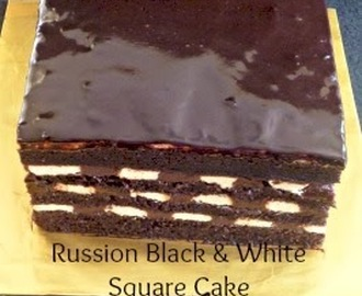 Russian Black and White Square Cake