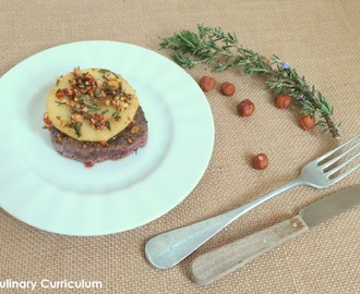 Tournedos de bœuf, pommes poêlées au romarin, miel et noisettes (Beef Tournedos with apples rosemary, honey and hazelnuts)