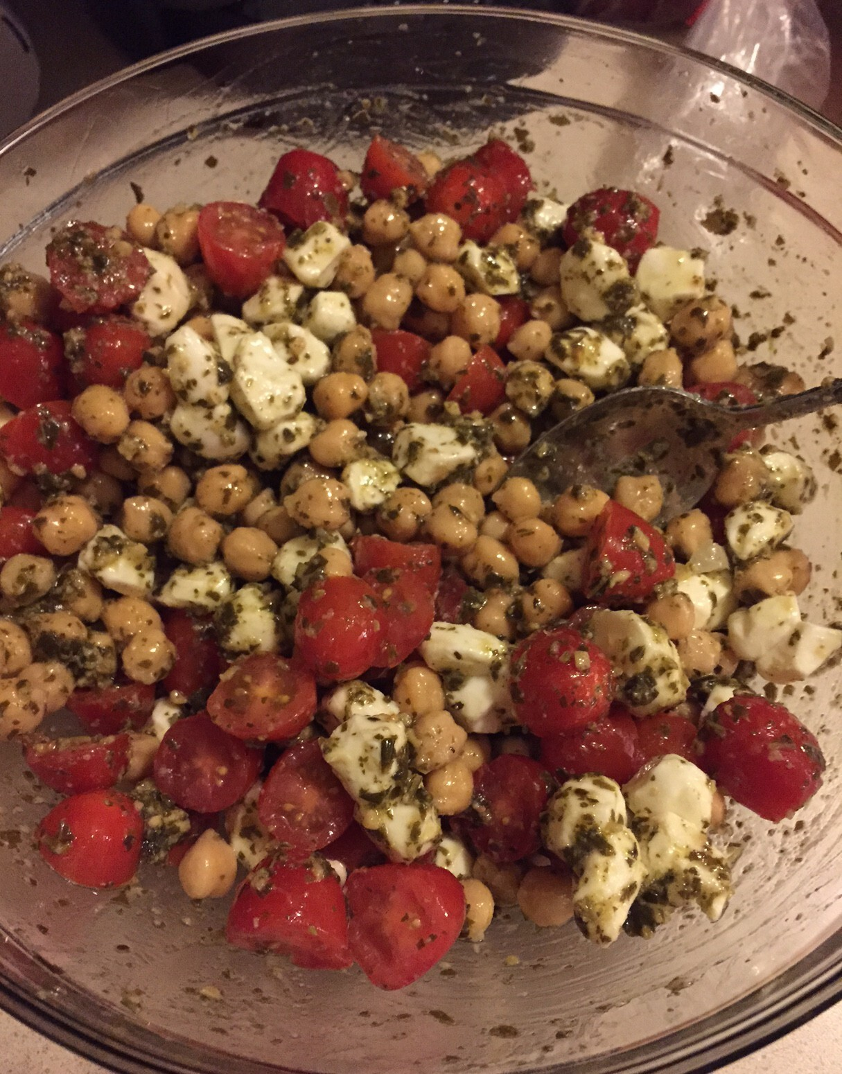 Chickpea, Tomato, and Mozzarella Salad with Pesto