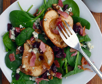 Maple Roasted Pear & Bacon Salad