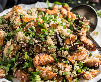 Autumn Quinoa Salad with Sweet Potatoes, Pecans, Bitter Greens, and a Maple Dijon Dressing