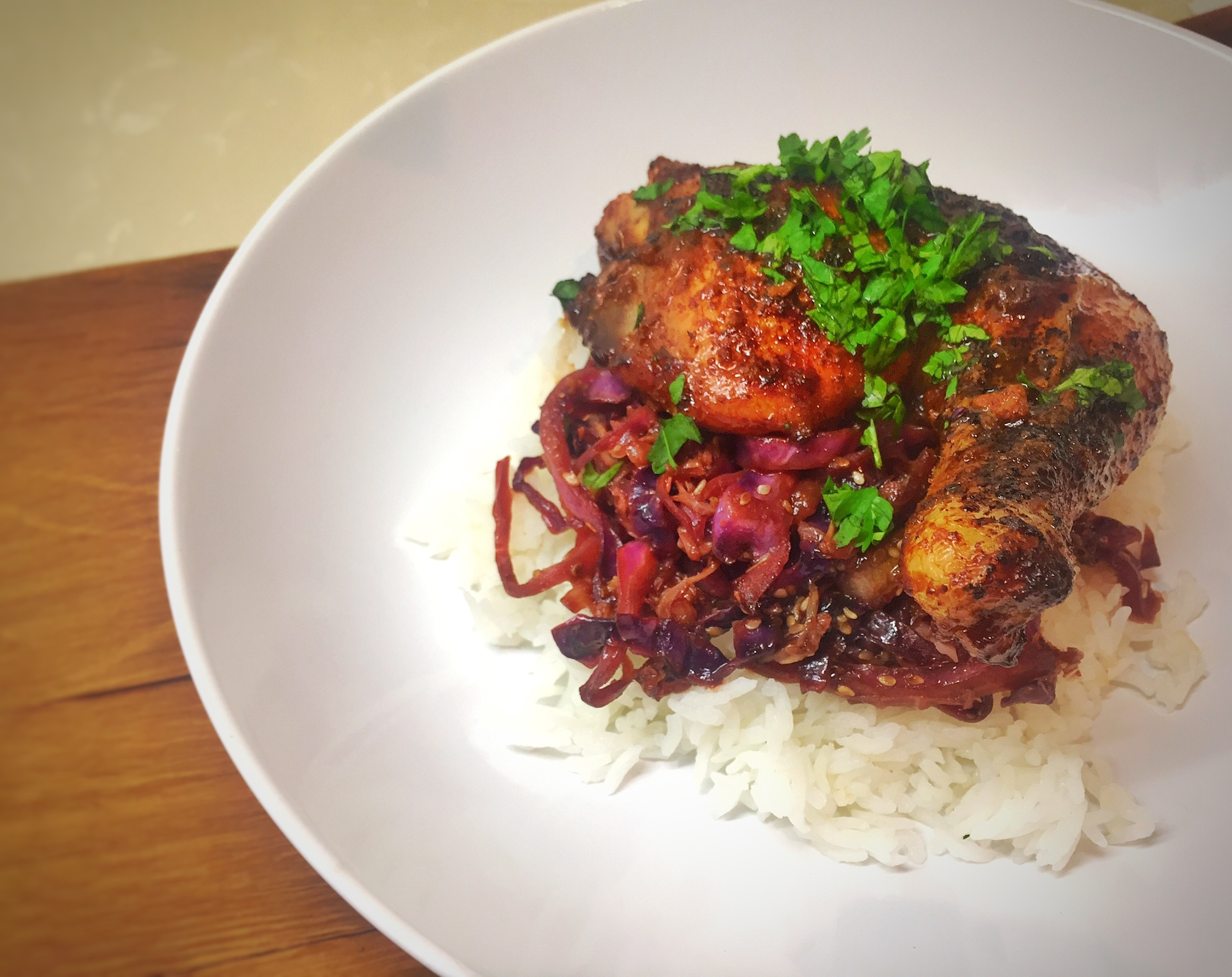 Orange Ginger Chicken with Warm Slaw