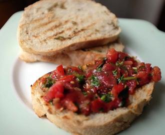 Tomato Salsa on Toasted Bread