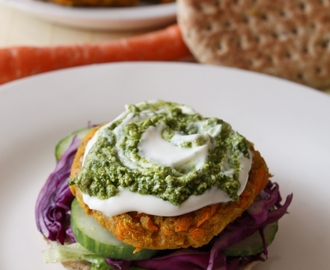 Vegetarian Chickpea Carrot Burger with Peanut Cilantro Pesto