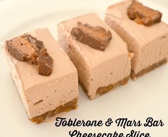 Toblerone and Mars Bar Cheesecake Slice