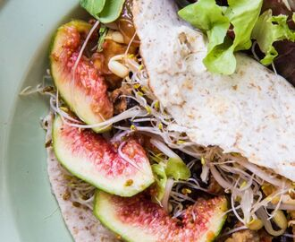 WIAW + fresh fig and smoky tofu + aubergine wrap