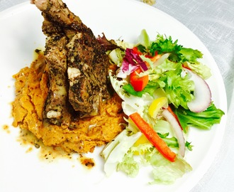 Rosemary and Uziza crusted Lamb with Ukwa Mash