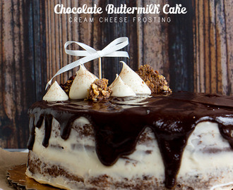 Chocolate Buttermilk Cake with Cream Cheese Frosting and Chocolate Ganache