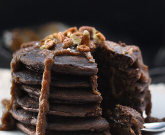 Paleo Mexican Hot Chocolate Pancakes with Salted Dulce de Leche