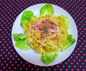 芝士火腿马铃薯炒意粉 Fried Spaghetti with Cheese, Ham and Potato