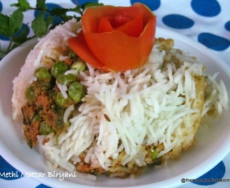 Methi Matar Biryani~ A vegetarian biryani with a difference
