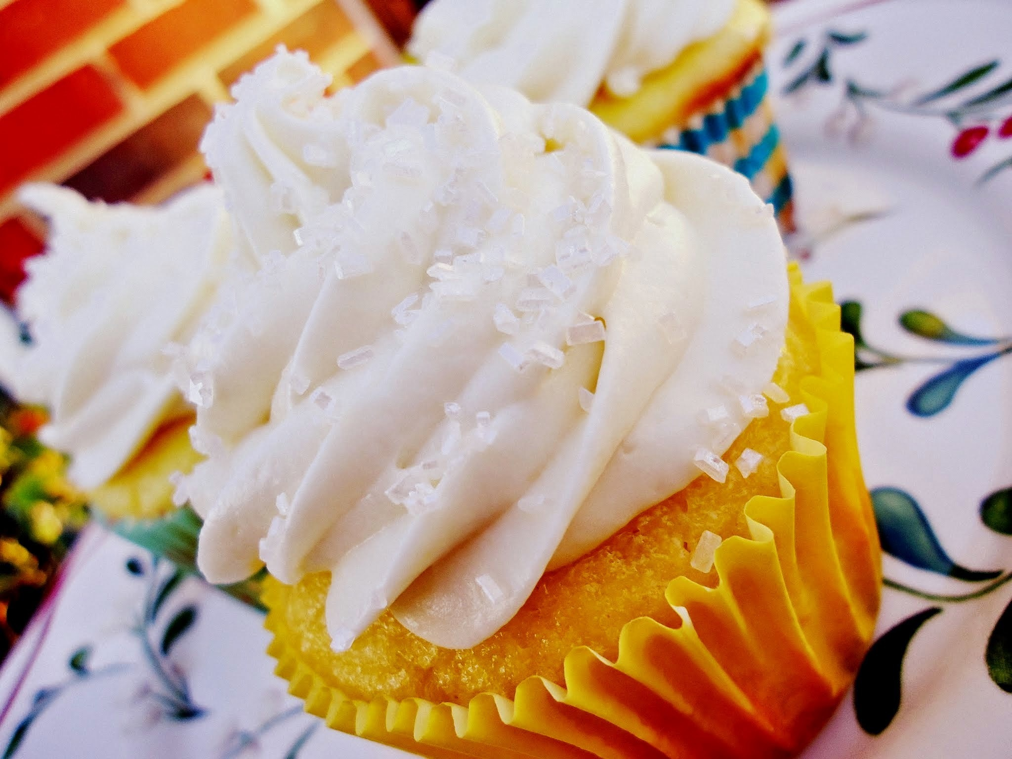 Winter Lemon White Chocolate Cupcakes with White Chocolate Cream Cheese Frosting