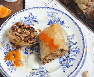 Baklava fruits secs et chocolat au sirop d'orange
