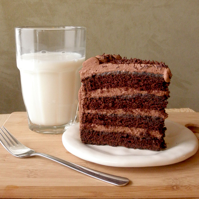 Chocolate Cake with Cocoa Whipped Cream Frosting
