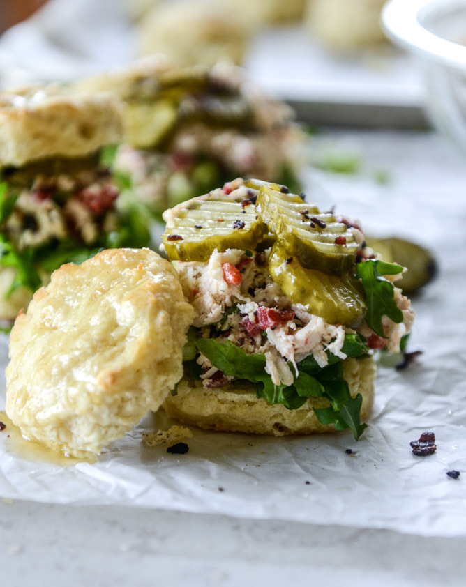 Pimento Cheese Chicken Salad on Honey Butter Biscuits.