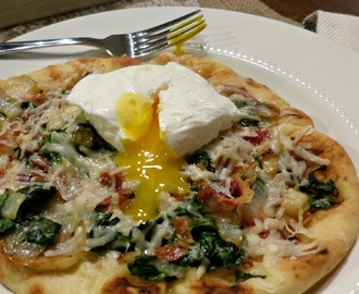 What's For Dinner Wednesday: Spinach & Pancetta Flatbread with a Poached Egg