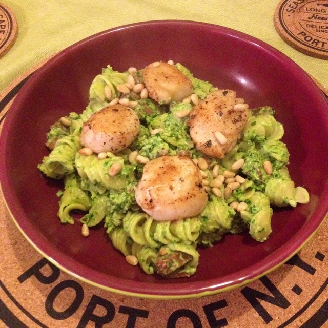 Scallop and Chorizo Pasta with Homemade Spinach and Ricotta Pesto