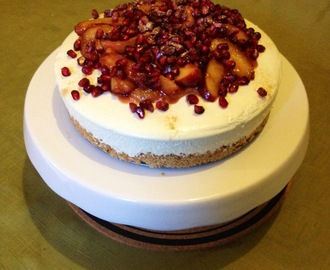 No Bake Vanilla Cheesecake with Caramelised Nectarine and Pomegranate Topping