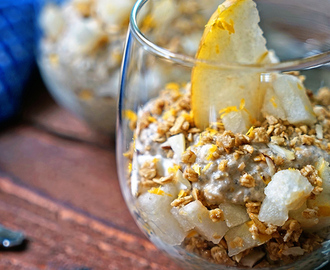 Chai Tea Chia Mousse Parfait with Granola and Diced Apple Pear
