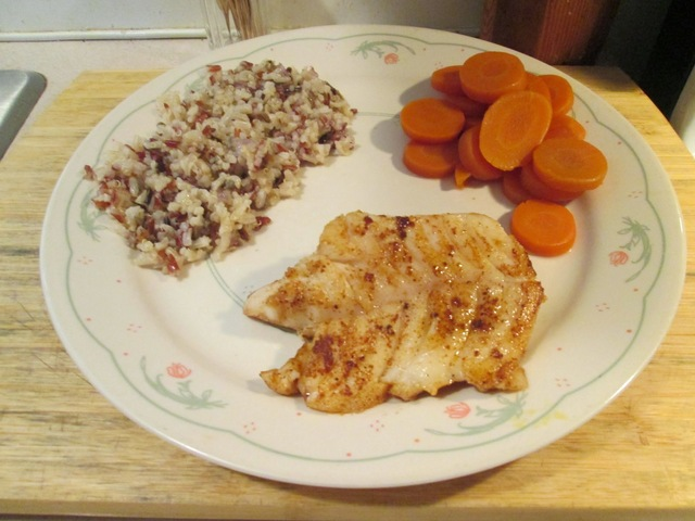 Blackened Grouper w/ Grain Medley and Sliced Carrots