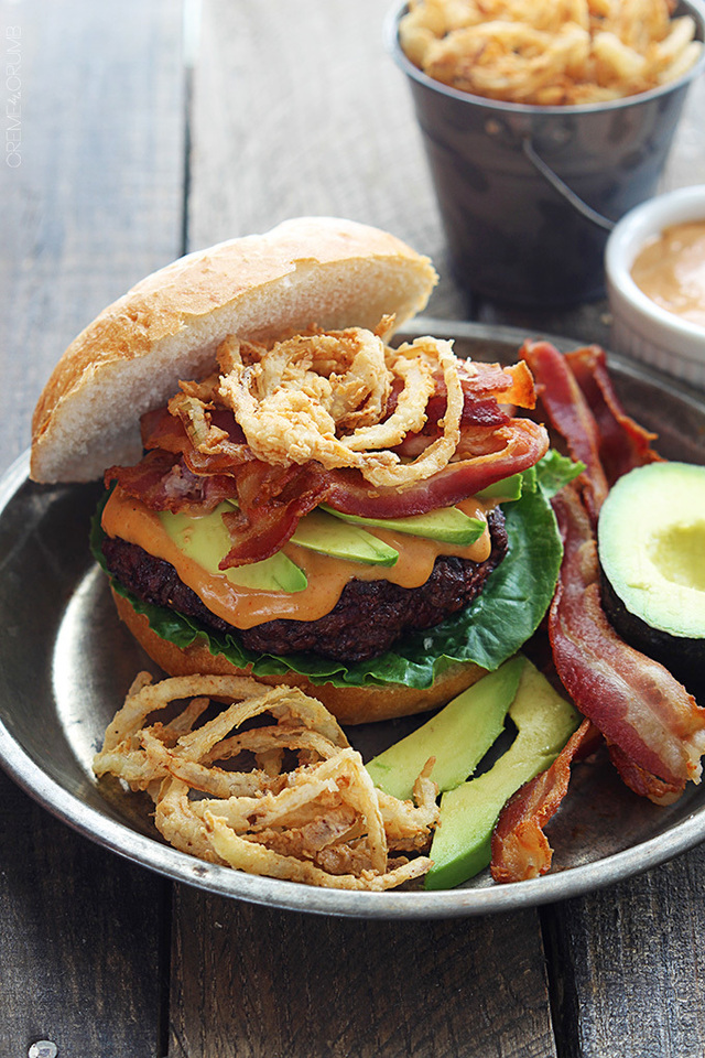 Western Bacon Burgers with BBQ Mayo and Crispy Onion Strings
