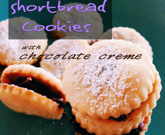 Lavender Shortbread Cookies with Chocolate Creme