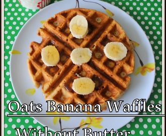 Oatmeal Banana Nut Waffles | Healthy Butter less Banana Oats Waffles | Banana oats Cinnamon Waffles | Quick and Easy Breakfast Banana Waffles