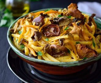 Vegan Pumpkin Pasta Sauce with Wild Mushrooms