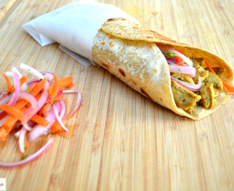 Chicken Kathi Roll with Pickled Red Onion Relish