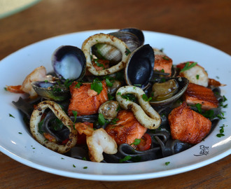 Seafood with squid ink pasta