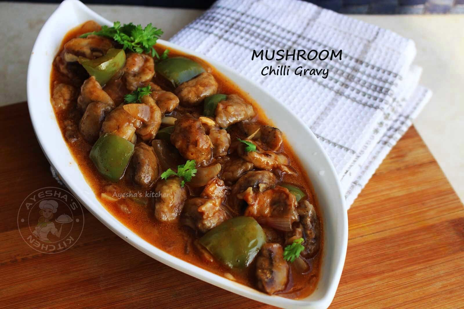MUSHROOM RECIPES - MUSHROOM CHILLI GRAVY RECIPE