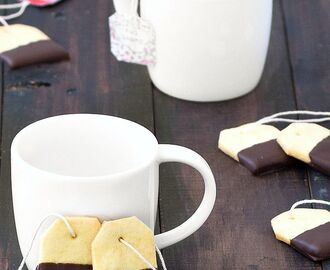 Chocolate Dipped Shortbread Tea Bag Cookies