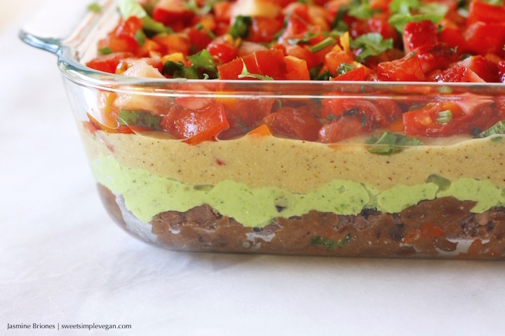 Vegan Layered Taco Dip w/ Strawberry Salsa, Broccoli Guacamole, 'Refried' Beans, Eggplant Cheese and Raw Vegetable Chips (low-fat, gluten- and oil-free)