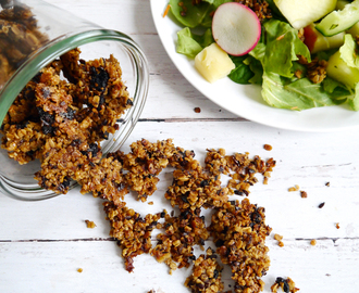 Savory granola with sun-dried tomatoes and olives