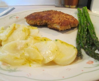 Panko Crusted Cubed Pork Steak w/ Scalloped Potato Casserole and Roasted Asparagus