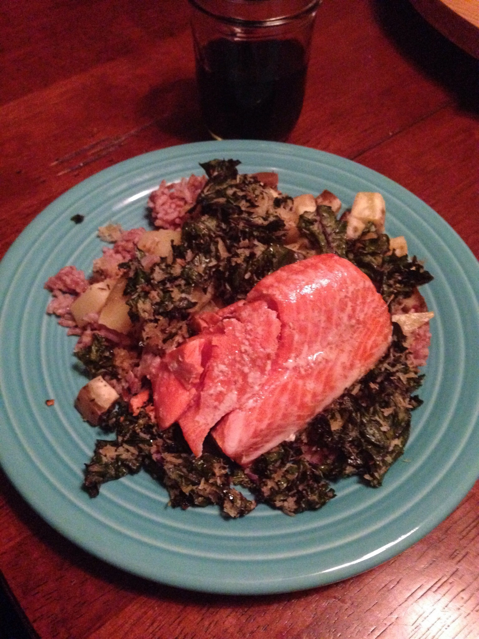 Crispy Coconut Kale, Sweet Potatoes, and Salmon with Coconut Rice