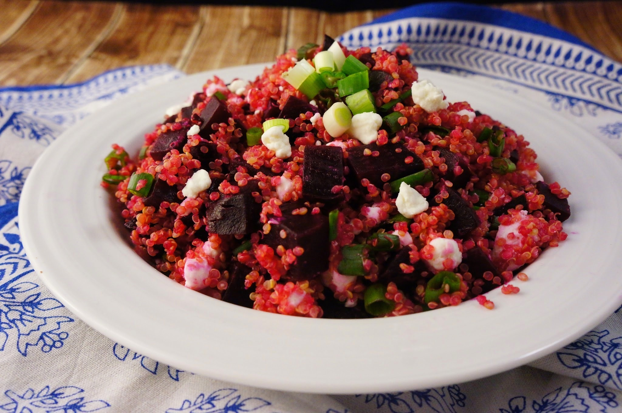 Quinoa and Roasted Beet Salad with Goat Cheese and Scallions