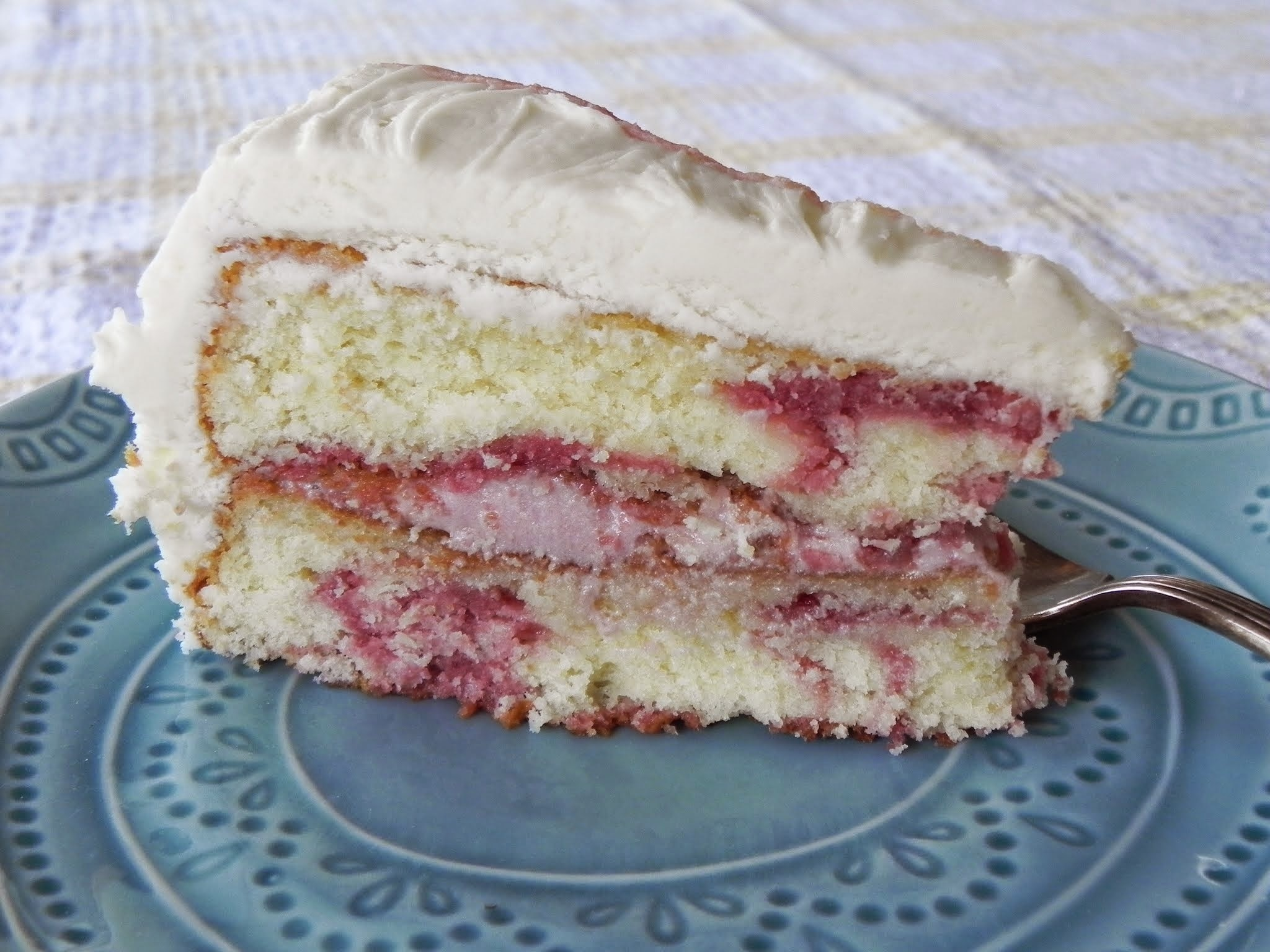 Marbled White Chocolate Raspberry Cake