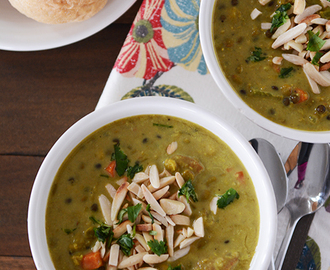 Curried Lentil and Sausage Soup with Toasted Almonds