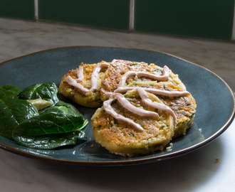 Spinach & Garlic Chickpea Pancakes with Sriracha Yogurt
