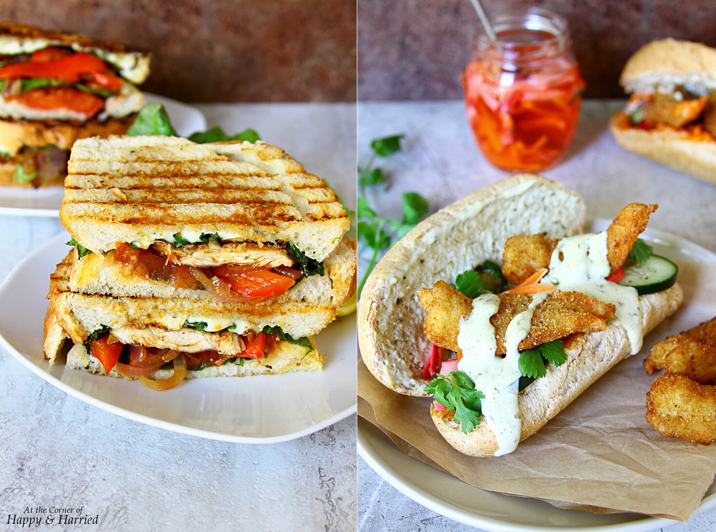 BBQ Chicken Sourdough Panini And Fried Shrimp Sub Sandwiches {For H-E-B #PrimoPicks}
