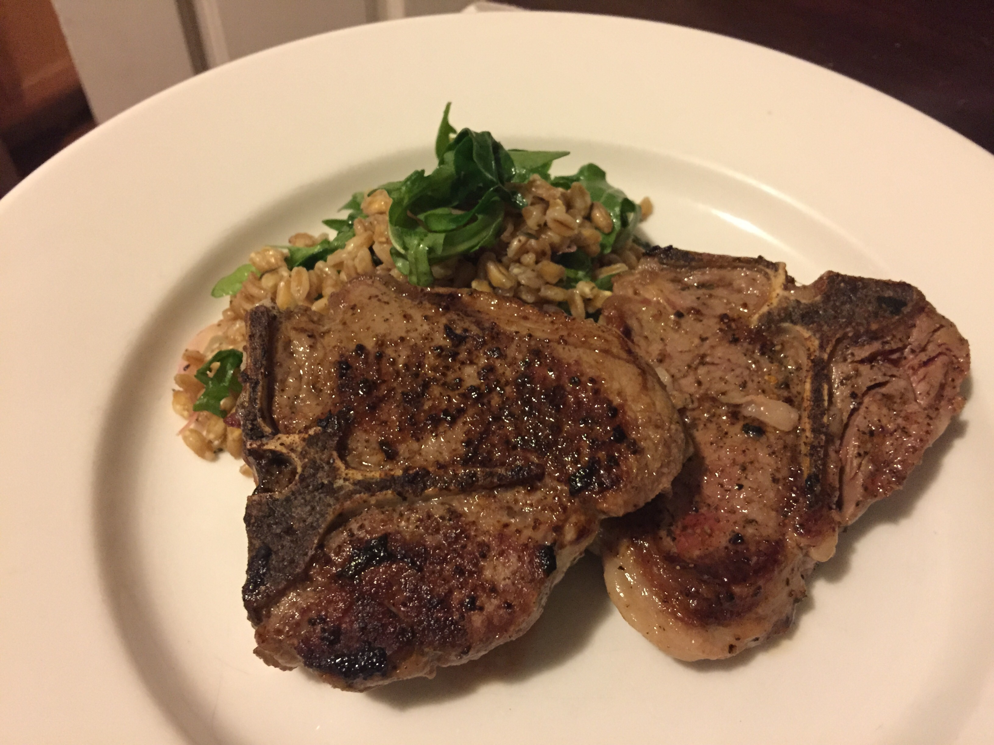 Lamb Chops with Farro, Arugula, and Lemon-Thyme Vinaigrette