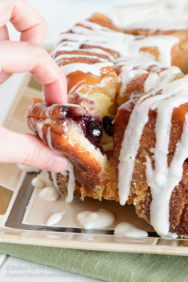 Blueberry Stuffed Pull-Apart Bread with Lemon Cream Cheese Glaze