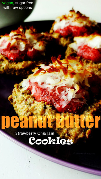 Peanut Butter and Strawberry Chia Jam Cookies with Sugar Free & Raw Options
