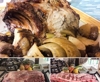 Slow cooked Roast Pork neck (bone-in) for Sunday Lunch !