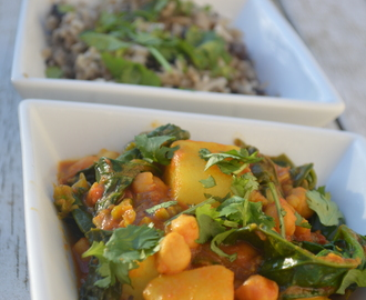Sag Aloo Inspired Potato and Spinach Curry with Mushroom Pilau Style Rice
