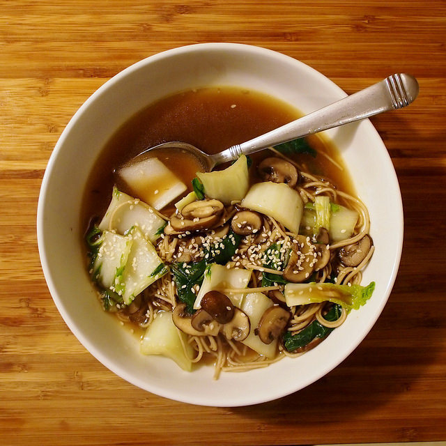 Soba Noodle Soup with Mushrooms and Bok Choy