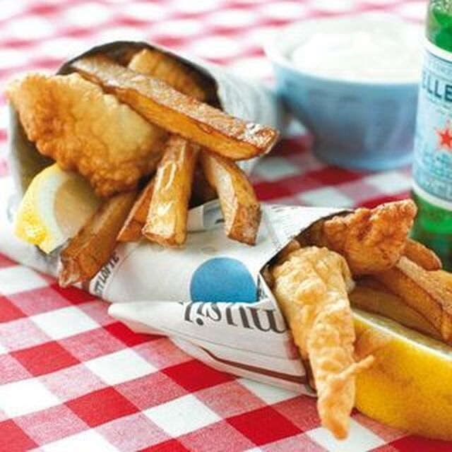 Fish n' chips med aioli