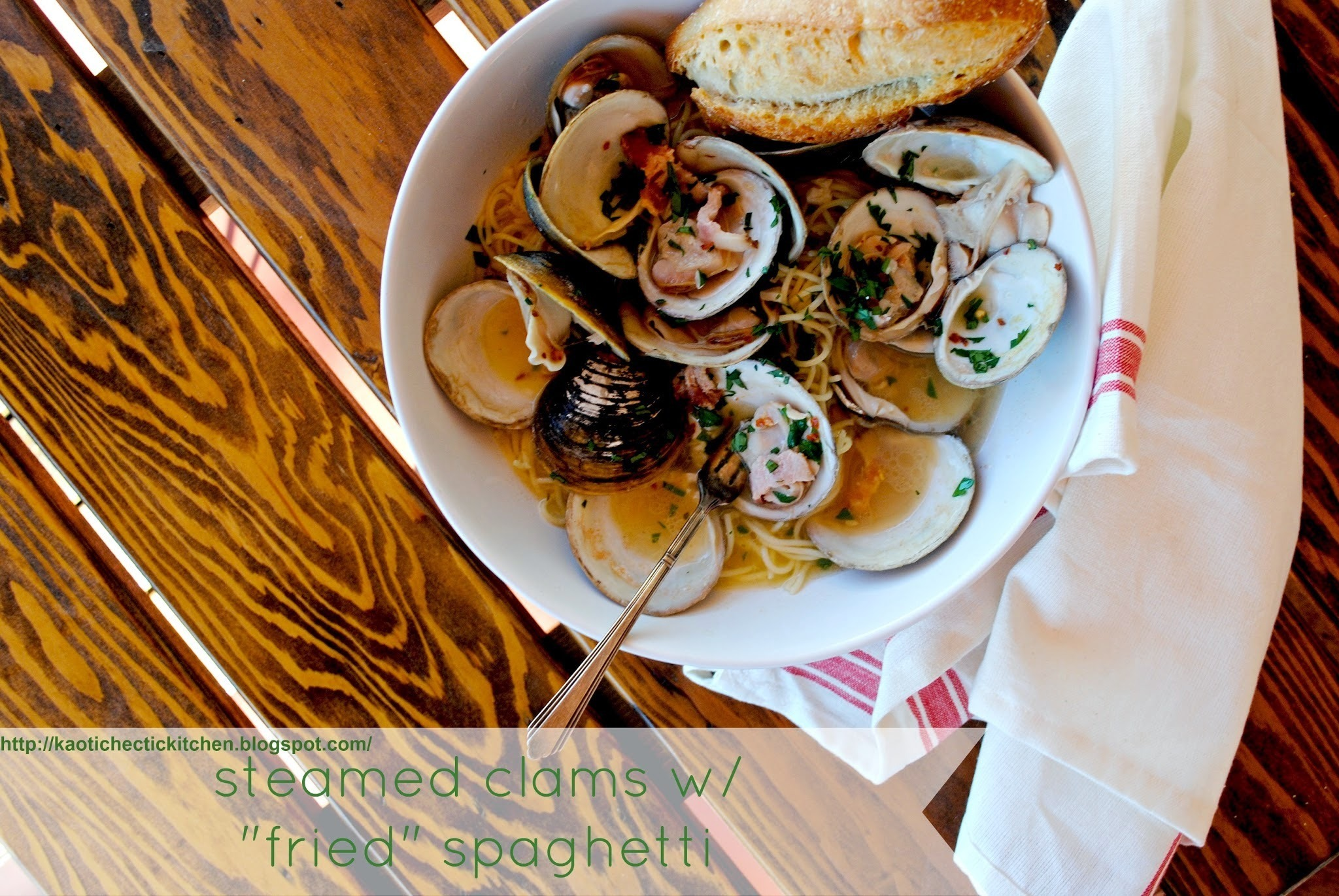 "take my word for it wednesday.. these steamed clams with ""fried"" spaghetti were da bomb.com"